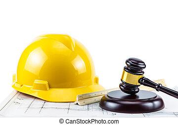 martillo, seguridad, amarillo, casco
