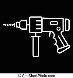 martillo, taladro eléctrico, icono