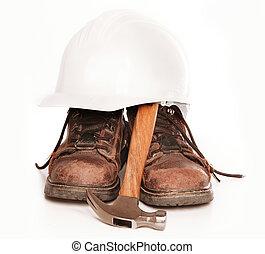 martillo, trabajo, sombrero, botas