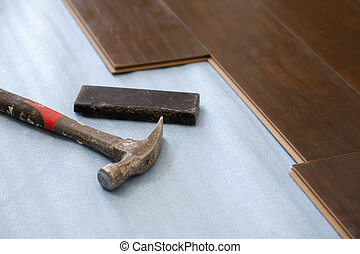 martillo, y, bloque, con, nuevo, laminate, embaldosado