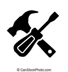 martillo, y, destornillador