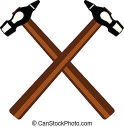 martillos, cruzado, dos