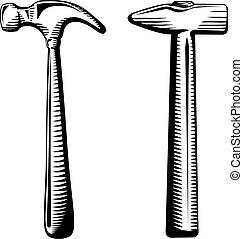 martillos, dos, aislado