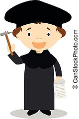 Martin Luther cartoon character. Vector Illustration.