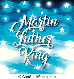 martin luther king card greeting text with star and blue shiny background