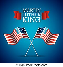 martin luther king card pair flag american crossed