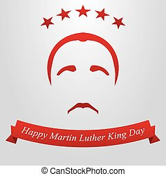 Martin Luther King Day. Hairstyle, mustache and flag