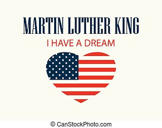 Martin Luther King Day. Heart with flag usa. Vector illustration