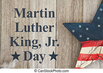 Martin Luther King Day message with retro USA star