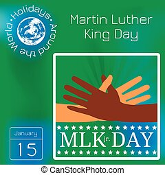 Martin Luther King Day. Multicolored hands reach for a handshake.