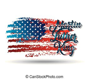 martin luther king grunge american flag lettering