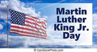 Martin Luther King jr day. USA flag on blue sky background. 3d illustration