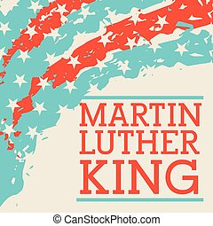 martin luther king lettering and usa flag corner decoration