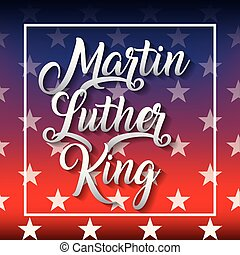martin luther king poster with colors flag american and stars