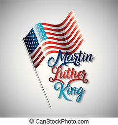 martin luther king usa flag on metallic pole symbol