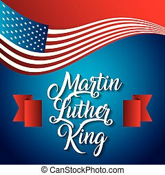 martin luther king usa flag waving modern design card