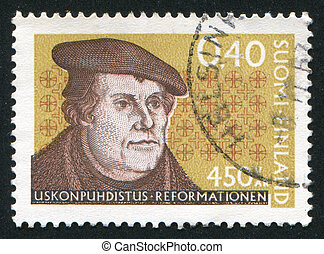 Martin Luther - FINLAND - CIRCA 1967: stamp printed by...