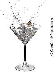 martini, à, éclaboussure, et, olive, isolé, blanc