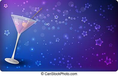 martini, étoiles, fond, nuit