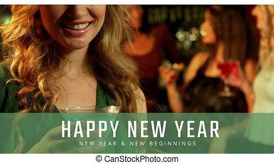 martini, 4k, szkło, nowy rok, kobieta, wigilia
