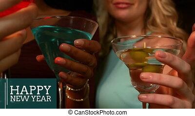 martini, 4k, toasting, nowy rok, kobiety, okulary, wigilia