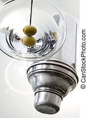 Martini and Shaker - Two olive classic martini with shaker ...