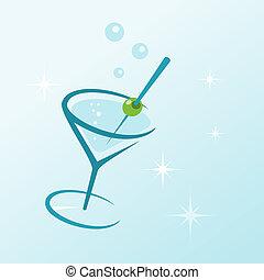 martini, bebida, en, vidrio