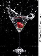 martini, bebida, salpicar, afuera, de, vidrio, aislado, en,...