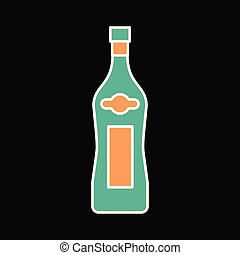 Martini bottle icon, cartoon style