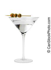martini, cóctel, con, aceitunas