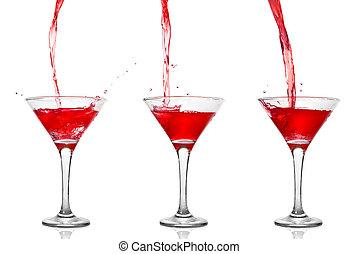 martini, cóctel, con, el verter, en, vidrio, aislado, blanco