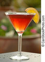 martini, cóctel, rojo
