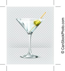 martini, cóctel, vidrio.