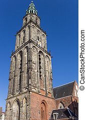 Martini church tower in the historical center of Groningen,...