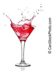 martini, cocktail, à, éclaboussure, isolé, blanc