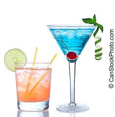 Martini cocktail blue hawaiian and yellow margarita