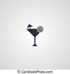 martini cocktail glass logotype