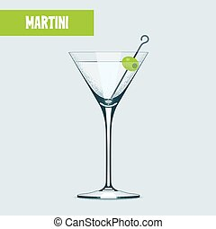Martini cocktail glass vector illustration