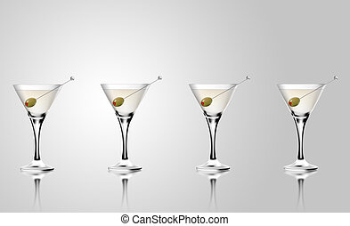 Martini cocktail glass with olives.