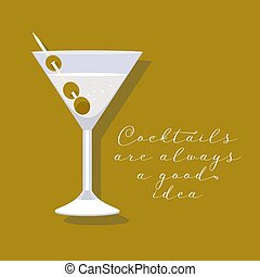 Martini cocktail in a glass vector illustration