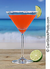 Martini cocktail on the beach