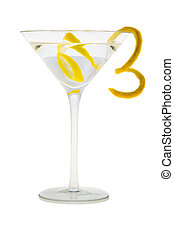 Martini cocktail with lemon peel - Martini mixed drink with...