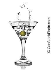 martini, con, aceituna, y, salpicadura, aislado, blanco