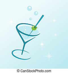 Martini Drink in Glass - Illustrated dry martini drink with...