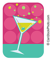 martini, estilo retro, illustration.