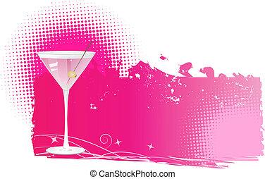 martini, fond, halftone