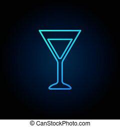 Martini glass blue icon