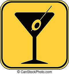Martini glass button. - Martini glass button on white...