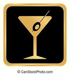 Martini glass button.