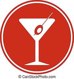 Martini glass button on white background. Vector...